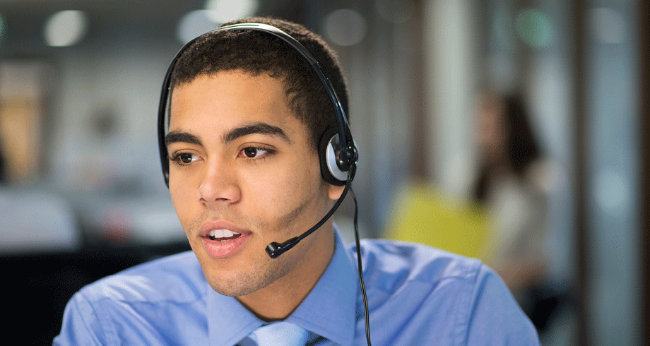 Man with a headset on.